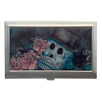 Distinguished Sugar Skull and Roses ID Holder Business Card Case Metal Wallet