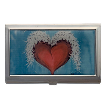 Heart and Wings Tattoo Art ID Holder Business Card Case Metal Wallet