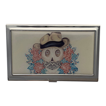 Cowboy Sugar Skull Tattoo Art ID Holder Business Card Case Metal Wallet