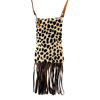 Small Dark Brown Leather and Fur Cheetah Print Crossbody Shoulder Bag Purse