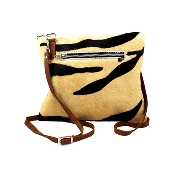 Dark Brown Leather and Fur Zebra Print Crossbody Shoulder Bag Purse