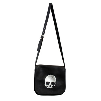 Black Italian leather crossbody purse with silver skull.