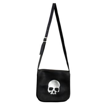 Black Italian leather crossbody purse with silver skull.