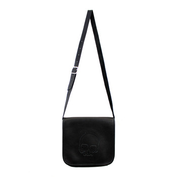 Frontside of purse with black skull on front flap.  Made in USA.