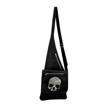 Medium Black Leather Crossbody Shoulder Bag Purse with Silver Skull