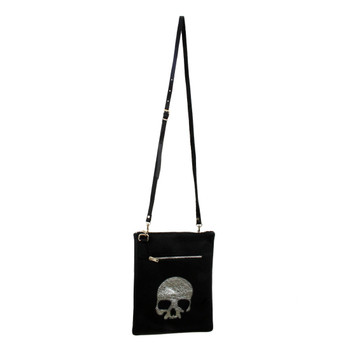 Black Leather Shoulder Bag Purse with Silver Skull on front.