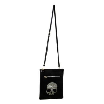 Black Leather Shoulder Bag Purse with Silver Skull on front.