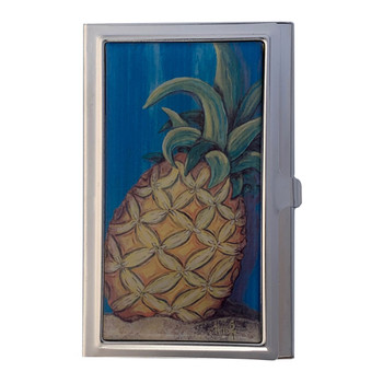 Tropical Pineapple Island Fruit ID Holder Business Card Case Metal Wallet