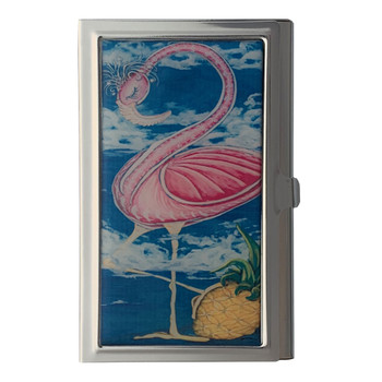 Tropical Pink Flamingo ID Holder Business Card Case Metal Wallet