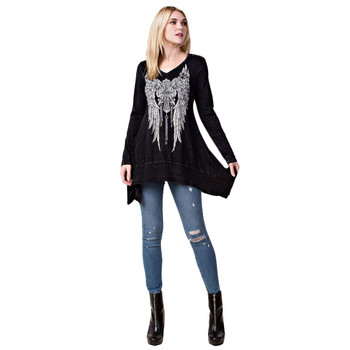 Vocal Apparel Black Long Sleeve Tunic with Cross and Wings Print