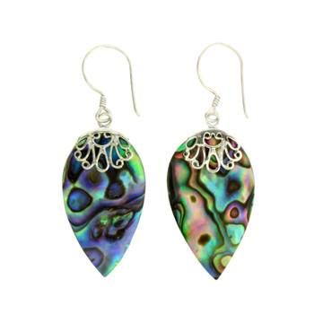 Blue Green Paua Shell Sterling Silver Earrings