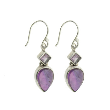 Sterling Silver Purple Amethyst Dangle Earrings Jewelry