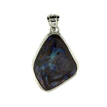 Sterling Silver Natural Australian Boulder Opal Pendant
