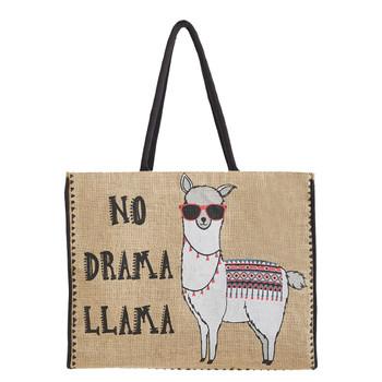 Mona B Large No Drama Llama Burlap Tote Shopping Market Bag