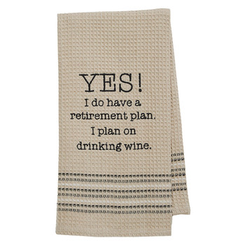 Retirement Wine Kitchen Dishtowel