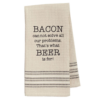 Funny Novelty Cotton Kitchen Dishtowel Bacon and Beer