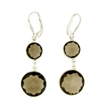 Long Brown Smoky Topaz Sterling Silver Dangle Earrings