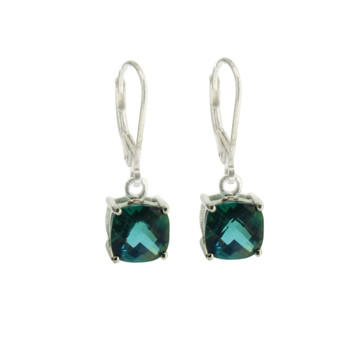 Ocean Green Topaz Sterling Silver Dangle Earrings