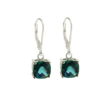 Ocean Green Topaz Sterling Silver Dangle Earrings