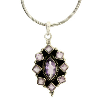 Faceted Amethyst Pendant Sterling Silver