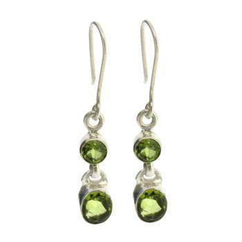 Faceted Green Peridot Dangle Earrings Sterling Silver