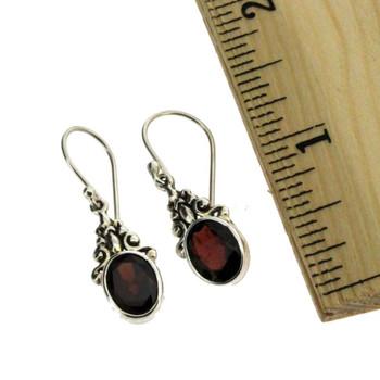 Oval Faceted Red Garnet Dangle Earrings Sterling Silver Bali Design