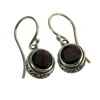 Round Faceted Red Garnet Dangle Earrings Sterling Silver Bali Design