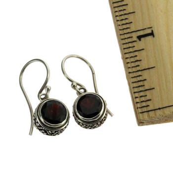 Round Faceted Red Garnet Dangle Earrings Sterling Silver Bali Design