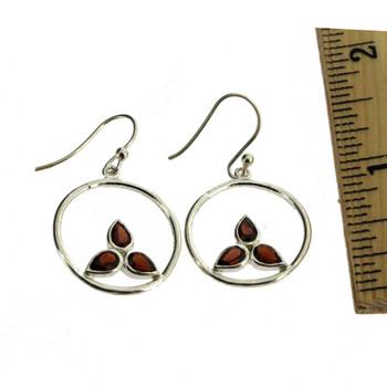 Red Garnet sterling silver earrings with ruler.