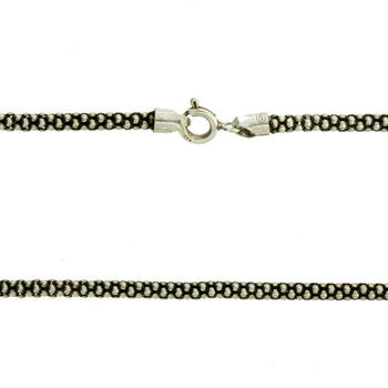 2.8mm Popcorn Chain .925 Sterling Silver Rhodium Plated Necklace