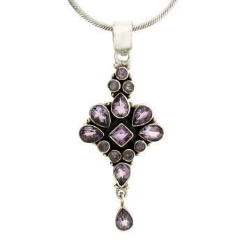 Multi Faceted Amethyst Pendant Sterling Silver