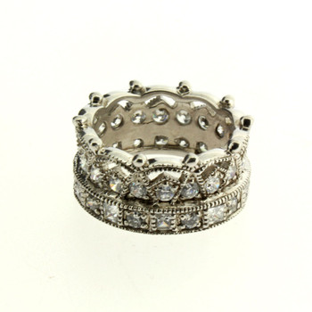 Cubic Zirconia Crown Sterling Silver Ring