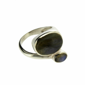 Two Stone Blue Gray Labradorite Sterling Silver Ring
