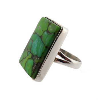 Rectangle Green Turquoise Ring Sterling Silver