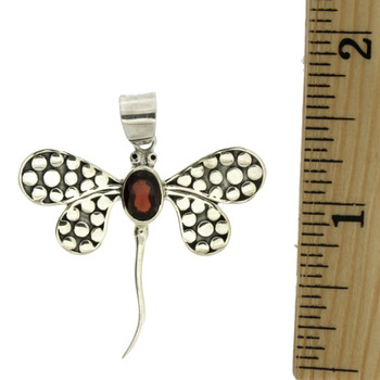 Red Garnet Dragonfly Pendant Sterling Silver Jewelry