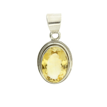 Faceted Oval Citrine Sterling Silver Pendant