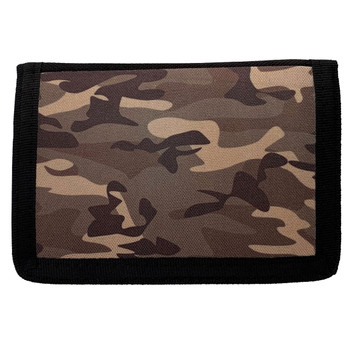 Brown Camouflage Trifold Nylon Wallet
