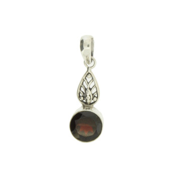 Faceted Round Red Garnet Pendant Sterling Silver Jewelry