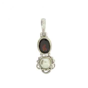 Faceted Oval Red Garnet and Round Pearl Pendant Sterling Silver Jewelry