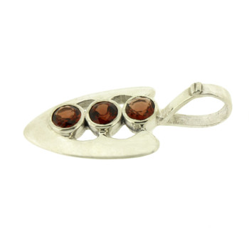 Faceted Three Round Red Garnet Pendant Sterling Silver Jewelry