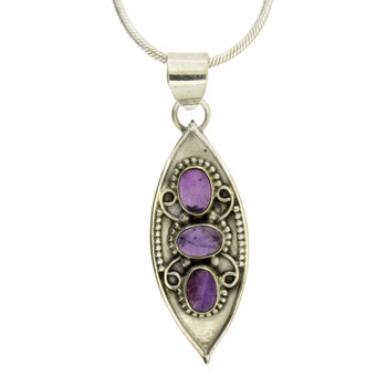 Three Cabochon Stone Amethyst Sterling Silver Pendant