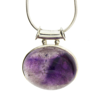 Large Cabochon Stone Amethyst Sterling Silver Pendant