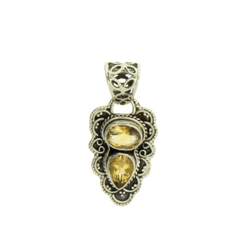 Two Faceted Stone Oval Citrine Sterling Silver Pendant