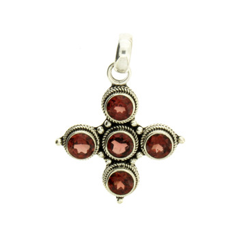 Faceted Five Round Red Garnet Pendant Sterling Silver Jewelry
