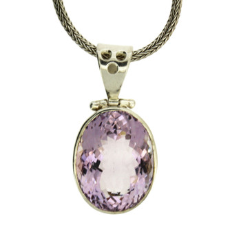 Purple Oval Faceted Amethyst Pendant Sterling Silver February Birthstone