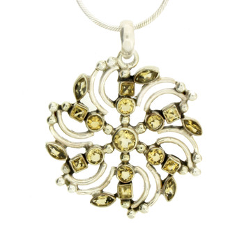 Large Multiple Faceted Citrine Stone Sterling Silver Pendant