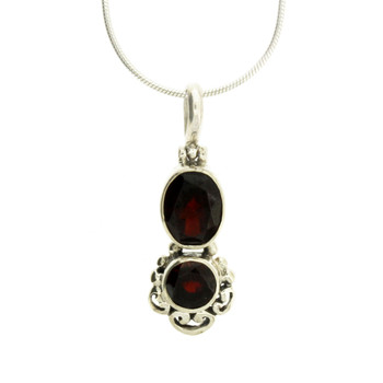 Two Faceted Red Garnet Stone Pendant Sterling Silver Jewelry