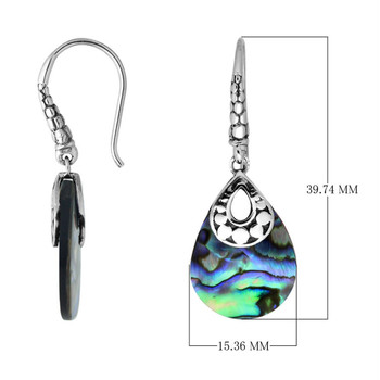 Sterling Silver Pear Shaped Dangle Earrings with Paua Abalone Shell