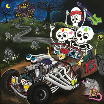 Skeleton Rat Rod by Melody Smith Canvas Giclee Tattoo Art Print