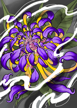 Purple Chrysanthemum Flower by Paul Gobet Canvas Giclee Tattoo Art Print